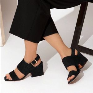 Céline black suede block heel buckle sandals